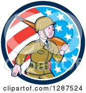 Clipart Of A Cartoon World War II Soldier Marching With A Rifle In An American Flag Circle Royalty Free Vector Illustration