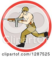 Clipart Of A Cartoon Army Soldier Running With A Tommy Gun In A Red White And Gray Circle Royalty Free Vector Illustration