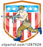 Clipart Of A Cartoon Army Soldier Running With A Tommy Gun Over An American Shield Royalty Free Vector Illustration