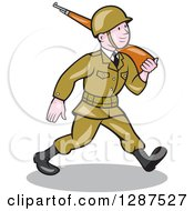 Clipart Of A Cartoon World War II American Soldier Marching With A Rifle Royalty Free Vector Illustration