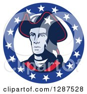Clipart Of A Retro American Patriot Minuteman Revolutionary Soldier In A Circle Of Stars Royalty Free Vector Illustration