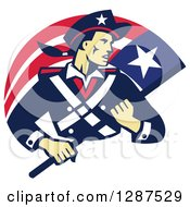 Clipart Of A Retro American Patriot Minuteman Revolutionary Soldier With A Flag Banner Royalty Free Vector Illustration by patrimonio