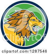 Clipart Of A Cartoon Roaring Male Lion Head In A Blue White And Green Circle Royalty Free Vector Illustration