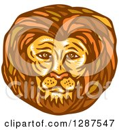 Clipart Of A Retro Woodcut Male Lion Face Royalty Free Vector Illustration