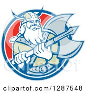 Clipart Of A Retro Male Viking Warrior With A Battle Axe In A Blue White And Red Circle Royalty Free Vector Illustration