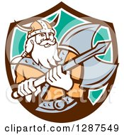Clipart Of A Retro Male Viking Warrior With A Battle Axe In A Brown White And Turquoise Shield Royalty Free Vector Illustration