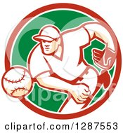 Clipart Of A Retro Male Baseball Player Pitching In A Red White And Green Circle Royalty Free Vector Illustration