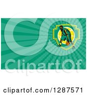 Clipart Of A Retro Woodcut Basketball Player Dribbling And Green Rays Background Or Business Card Design Royalty Free Illustration