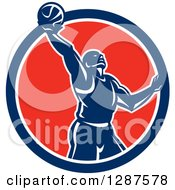Clipart Of A Retro Silhouetted Basketball Player Doing A Layup In A Blue White And Red Circle Royalty Free Vector Illustration by patrimonio