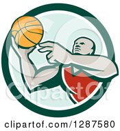 Clipart Of A Retro Black Male Gen Basketball Player Doing A Layup In A Green And White Circle Royalty Free Vector Illustration