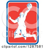 Clipart Of A Retro Silhouetted Basketball Player Doing A Layup In A Blue White And Red Rectangle Royalty Free Vector Illustration by patrimonio