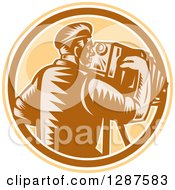 Clipart Of A Retro Woodcut Male Photographer Using A Vintage Bellows Camera In A Brown White And Tan Circle Royalty Free Vector Illustration by patrimonio