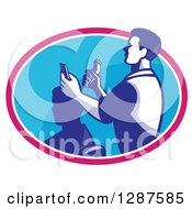 Clipart Of A Retro Male Barber Cutting A Clients Hair With Clippers In A Pink White And Blue Oval Royalty Free Vector Illustration