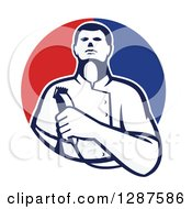 Clipart Of A Retro Male Barber Holding Clippers In A Half Red And Blue Circle Royalty Free Vector Illustration