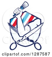 Clipart Of A Retro Barbers Hand Holding A Brush On Open Scissors In A Ray And Stripe Shield Royalty Free Vector Illustration