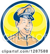 Clipart Of A Retro Cartoon Winking White Male Police Officer In A Blue White And Yellow Circle Royalty Free Vector Illustration