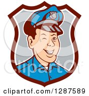 Retro Cartoon Winking White Male Police Officer In A Brown White And Gray Shield