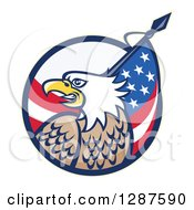 Clipart Of A Bald Eagle And American Flag Emerging From A Circle Royalty Free Vector Illustration