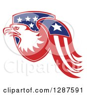 Clipart Of A Bald Eagle And American Flag Emerging From A Shield Royalty Free Vector Illustration