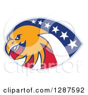 Clipart Of A Bald Eagle And American Flag Design Royalty Free Vector Illustration