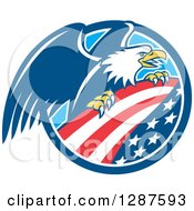 Clipart Of A Bald Eagle Perched On An American Flag In A Blue And White Circle Royalty Free Vector Illustration