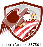 Clipart Of A Bald Eagle Perched On An American Flag In A Brown White And Gray Shield Royalty Free Vector Illustration