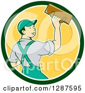 Clipart Of A Retro Cartoon White Male Plasterer In A Green White And Yellow Circle Royalty Free Vector Illustration