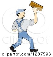 Retro Cartoon White Male Plasterer Worker