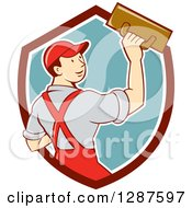 Retro Cartoon White Male Plasterer In A Maroon White And Turquoise Shield