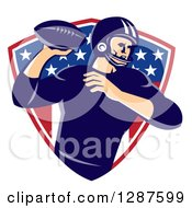 Clipart Of A Retro American Football Player Passing The Ball Over An American Shield Royalty Free Vector Illustration