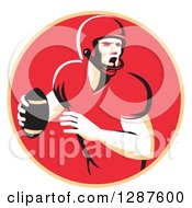 Clipart Of A Retro Male American Football Player Shouting And Passing The Ball In A Pastel Orange And Red Circle Royalty Free Vector Illustration