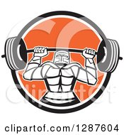 Clipart Of A Retro Strong Knight Working Out With A Barbell In A Black White And Orange Circle Royalty Free Vector Illustration