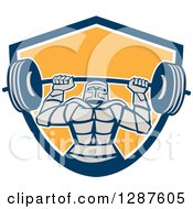 Clipart Of A Retro Strong Knight Working Out With A Barbell In A Blue White And Yellow Shield Royalty Free Vector Illustration