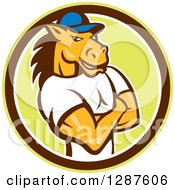 Clipart Of A Cartoon Casual Muscular Horse Man With Folded Arms In A Green Brown Adn White Circle Royalty Free Vector Illustration