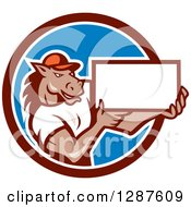 Clipart Of A Cartoon Casual Muscular Horse Man Presenting A Sign In A Brown White And Blue Circle Royalty Free Vector Illustration