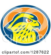Clipart Of A Retro Peregrine Falcon Head In A Blue White And Orange Oval Royalty Free Vector Illustration by patrimonio