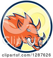 Clipart Of A Cartoon Wild Razorback Boar Pig In A Blue White And Yellow Circle Royalty Free Vector Illustration by patrimonio