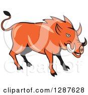 Cartoon Wild Razorback Boar Pig