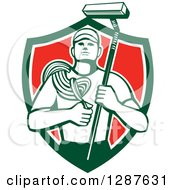 Retro High Rise Male Window Washer Holding A Rope And Brush In A Green White And Red Shield