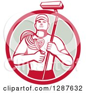 Clipart Of A Retro High Rise Male Window Washer Holding A Rope And Brush In A Red White And Taupe Circle Royalty Free Vector Illustration