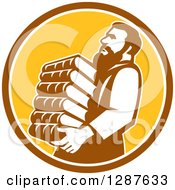 Clipart Of Saint Jerome Carrying A Stack Of Books In A Brown White And Yellow Circle Royalty Free Vector Illustration