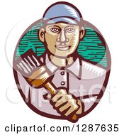 Clipart Of A Retro Woodcut Male Hispanic Painter Holding A Brush Royalty Free Vector Illustration