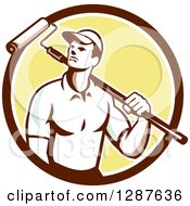 Clipart Of A Retro Male House Painter With A Roller Brush Over His Shoulder In A Brown White And Yellow Circle Royalty Free Vector Illustration
