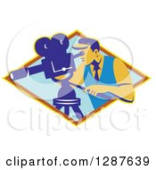 Clipart Of A Retro Male Cameraman Working In A Yellow Brown And Blue Diamond Royalty Free Vector Illustration