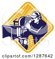 Clipart Of A Retro Blue And White Male Cameraman Working In A Yellow Sunburst Diamond Royalty Free Vector Illustration