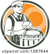 Clipart Of A Retro Male Cooper Barrel Maker Holding A Mallet Over A Drum In A Green White And Orange Circle Royalty Free Vector Illustration by patrimonio