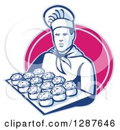 Clipart Of A Retro Male Chef Baker Holding A Tray Of Meat Pies In A Pink Oval Royalty Free Vector Illustration by patrimonio