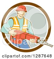 Retro Cartoon Caucasian Construction Worker Holding A Jackhammer Drill In A Circle