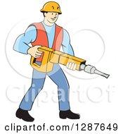 Retro Cartoon Caucasian Construction Worker Holding A Jackhammer Drill