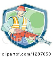 Retro Cartoon Caucasian Construction Worker Holding A Jackhammer Drill In A Shield